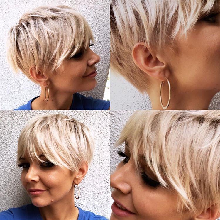 capelli corto con frangia color biondo