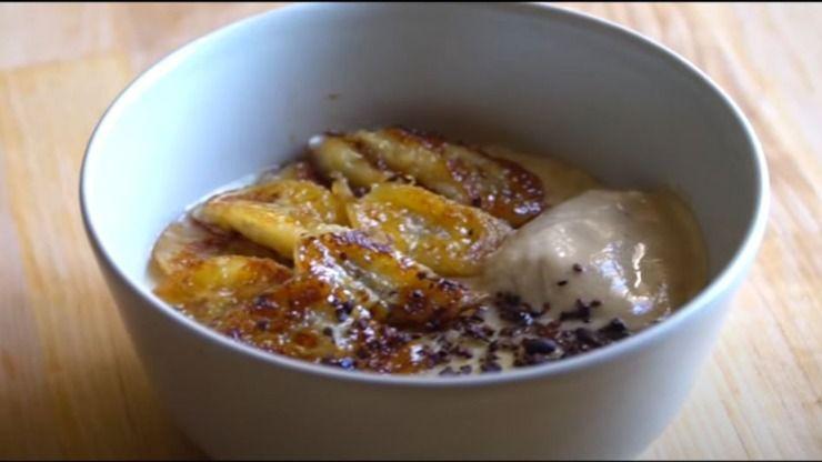 porridge inglese colazione ricetta vegana banana caramellata