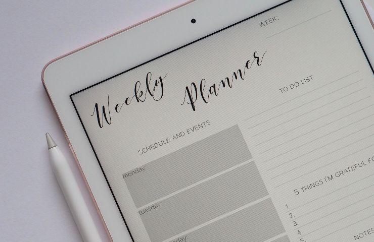 Agenda su un tablet