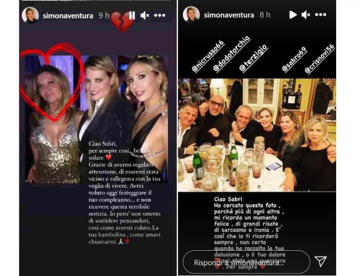 Il post di Simona Ventura